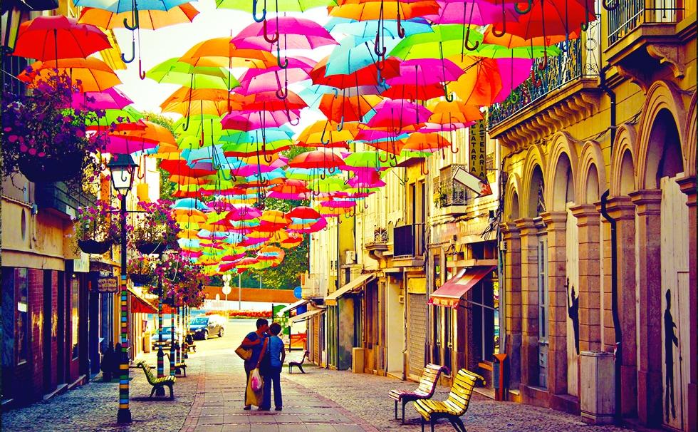 Portugal : les parapluies colorés d'Agueda