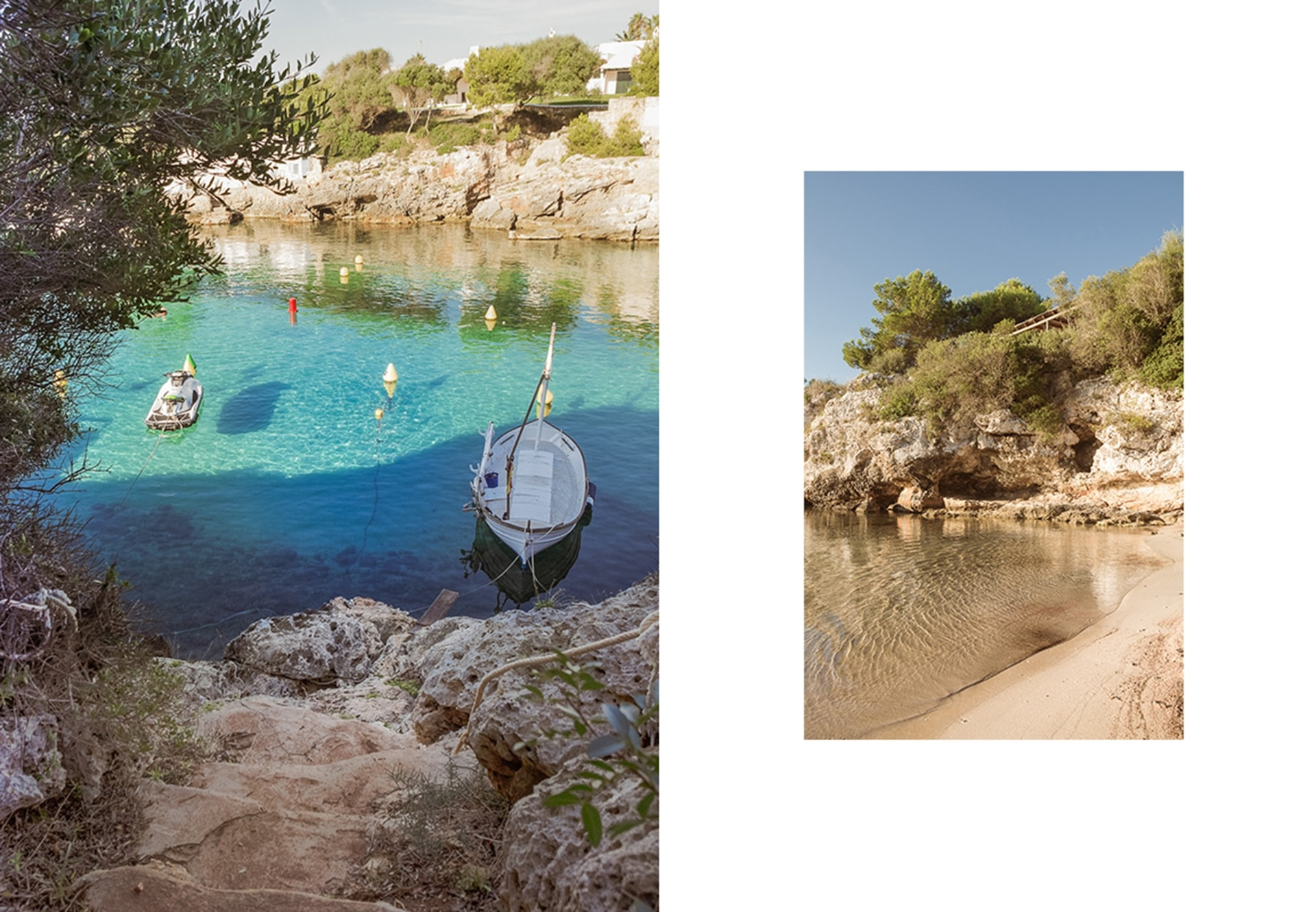 jolie barque dans la crique de Binisafuller bordée d'olivier et