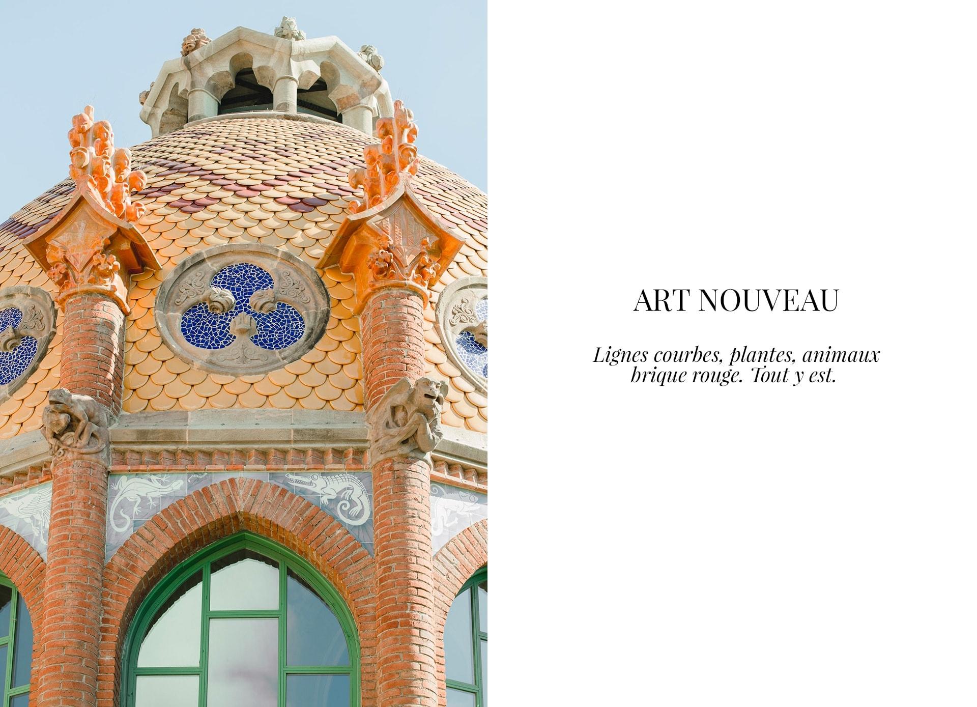 Art Nouveau : lignes courbes, mosaïque, animaux et plantes