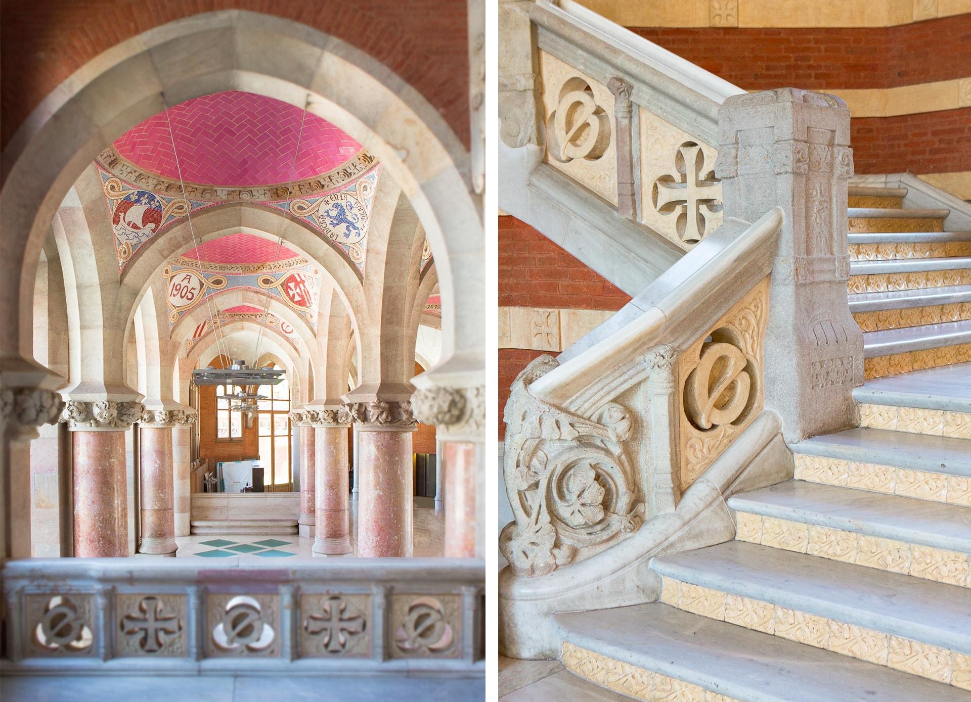 Voutes catalanes et escalier du pavillon adlinistratif de l'Hospital Sant Pau à Barcelone
