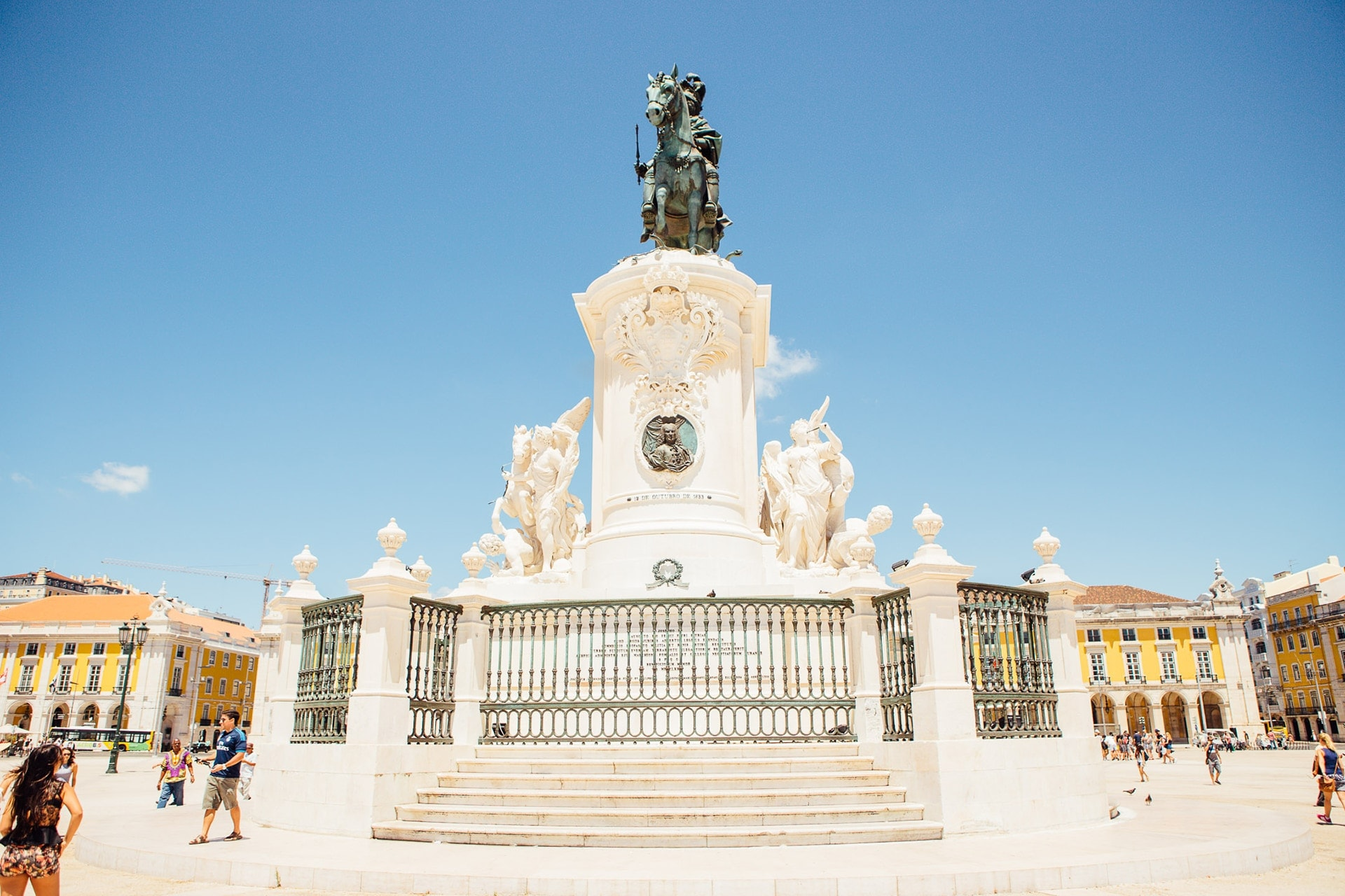 Statue de Joseph 1er, sur la Praça do Comércio dans le quartier de Baixa à Lisbonne, au Portugal